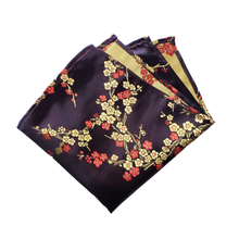 Load image into Gallery viewer, Gold and Red Delicate Flowers on Black with Gold Back Pocket Square