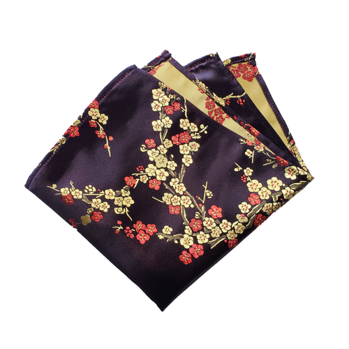 Gold and Red Delicate Flowers on Black with Gold Back Pocket Square