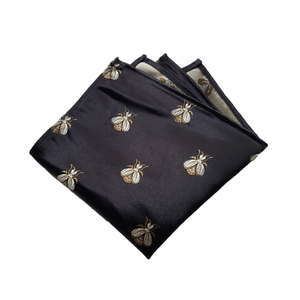 Bee On Rich Black and Metallic Backed Pocket Square
