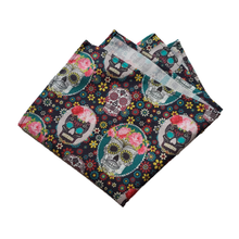 Load image into Gallery viewer, Floral Skull Cotton Pocket Square