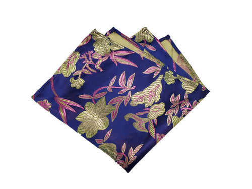 Dark Blue and Bright Green Pocket Square (Indian Saree Material)