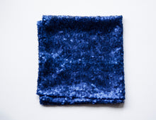 Load image into Gallery viewer, Blue sequin fancy pocket square made locally in Vancouver BC by Brook Pooni Non-Profit Group.