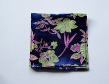 Load image into Gallery viewer, Deep blue and floral Indian Saree pocket square made locally in Vancouver BC by Brook Pooni Non-Profit Group.