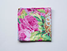 Load image into Gallery viewer, Beautiful floral print pocket square hand crafted in Vancouver BC by Brook Pooni Non Profit Group.