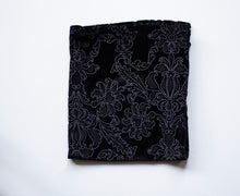Load image into Gallery viewer, Black Velour and Silver Paisley  pocket square made locally in Vancouver BC by Brook Pooni Non-Profit Group.