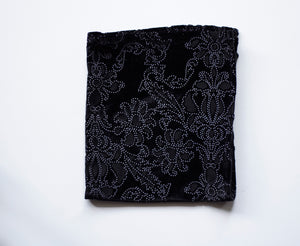 Black Velour and Silver Paisley  pocket square made locally in Vancouver BC by Brook Pooni Non-Profit Group.