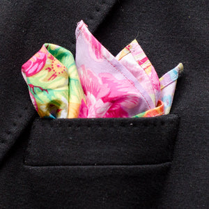 Beautiful floral print pocket square hand crafted in Vancouver BC by Brook Pooni Non Profit Group.