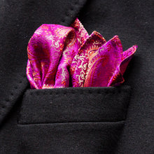 Load image into Gallery viewer, Purple floral and paisley traditional Indian saree pocket square made locally in Vancouver BC by Brook Pooni Non-Profit Group.