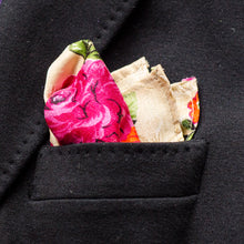 Load image into Gallery viewer, Rich cream with floral print authentic Indian Saree pocket square made locally in Vancouver BC by Brook Pooni Non-Profit Group.