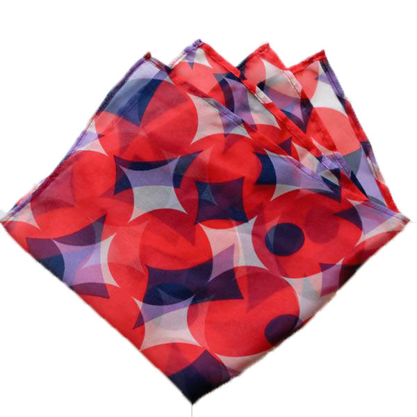 Circle and Diamond Navy and Red Sheer Pocket Square