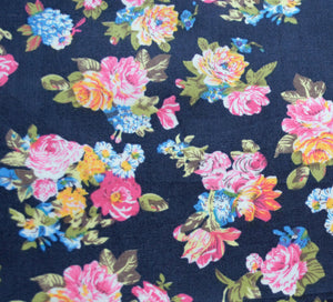 Mini Flower Blooms on Rich Blue Pocket Square