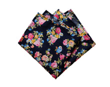 Load image into Gallery viewer, Mini Flower Blooms on Rich Blue Pocket Square