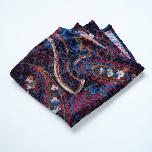 Velour and vibrant colored pocket square made locally in Vancouver BC by Brook Pooni Non-Profit Group.