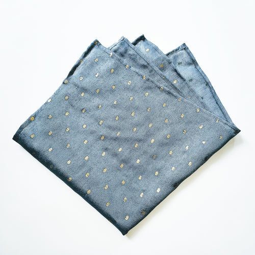 Pale Blue and Shimmering Gold Pocket Square