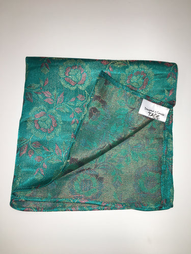 Teal Floral Pocket Square (Indian Saree Material)