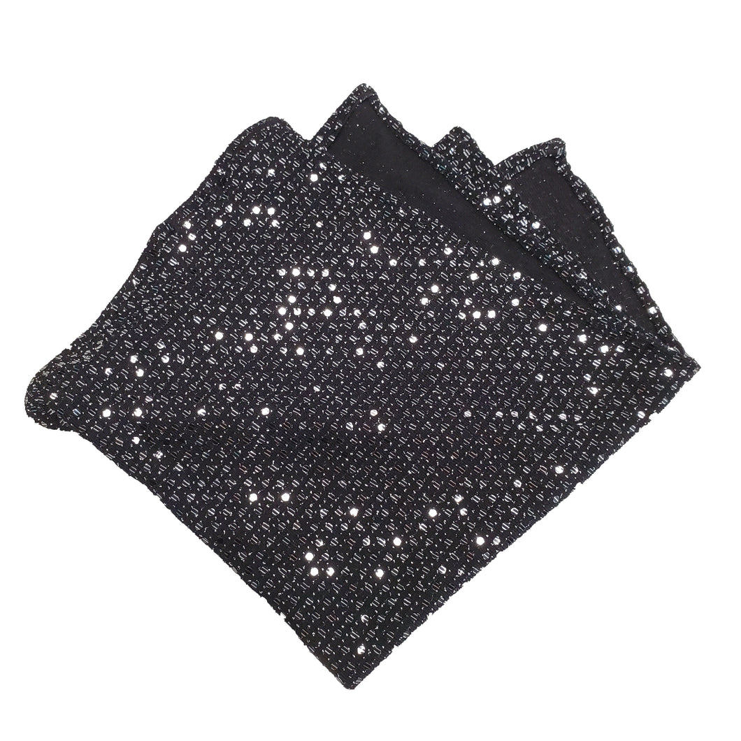 Black and Sequin Fancy Pocket Square