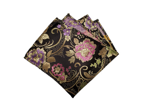 Ornate Gold and Colored Floral on Black Saree Material