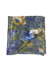 Load image into Gallery viewer, Blue Floral Pocket Square (Indian Saree Material - 100% Silk)