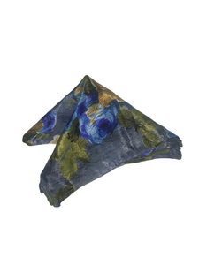 Blue Floral Pocket Square (Indian Saree Material - 100% Silk)