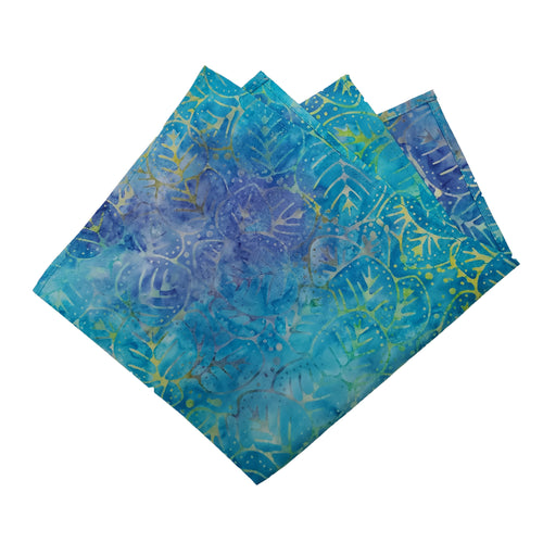 Blue Leaf Watercolor Style Patterned Pocket Square