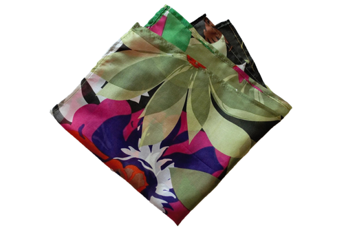 Cutout Colorful Flower Sheer Pocket Square