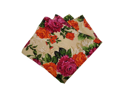 Light Floral Pocket Square Made From Authentic Indian Saree Fabric