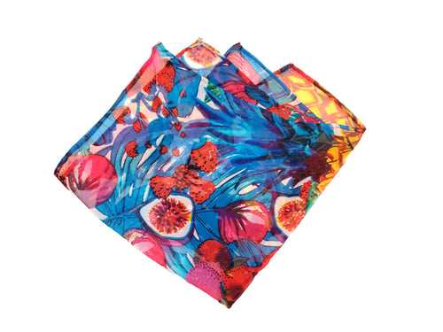 Colorful Fig and Berry Sheer Pocket Square