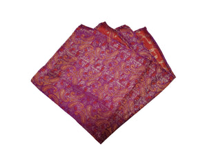 Purple Floral Pocket Square (Indian Saree Material)