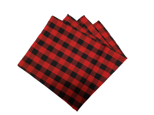 Red and Black Plaid Pocket Square