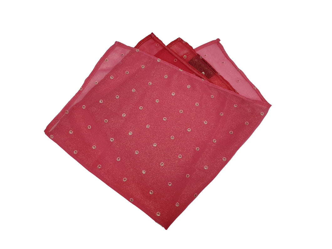 Shimmer Pink Pocket Square (Indian Saree Material)