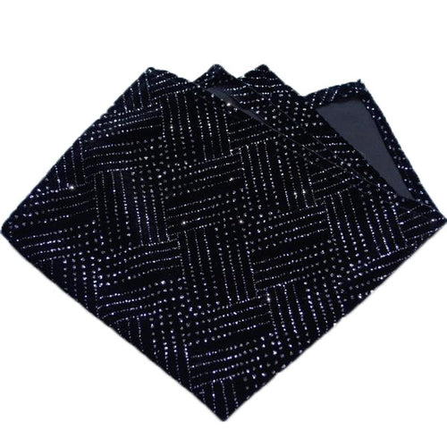 Black Velour and Silver Sparkle Fancy Pocket Square