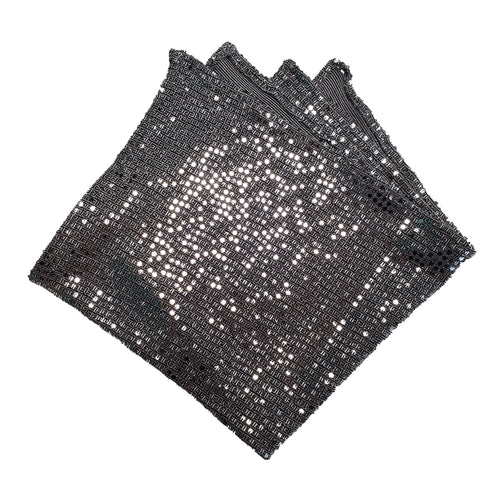 Silver Sequin Dot Pocket Square