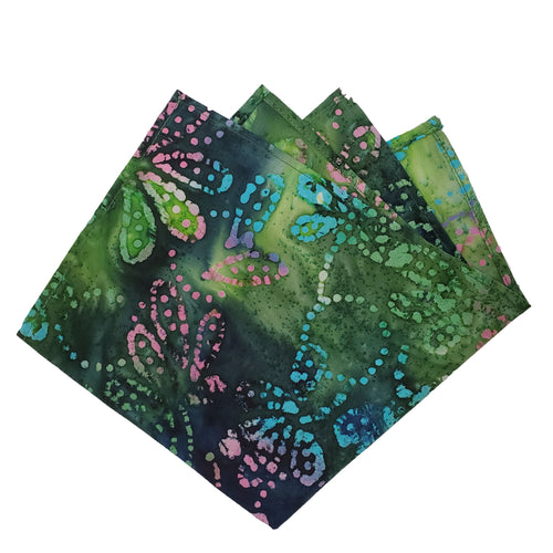 Green Layered Watercolor Pocket Square