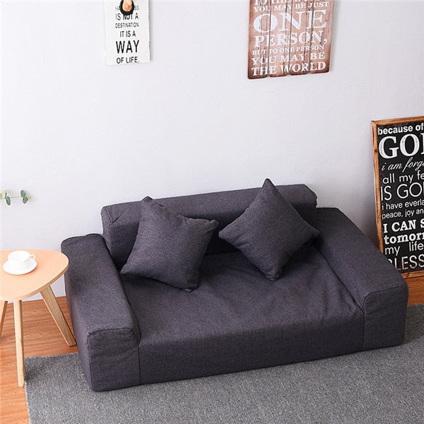 Modern Floor Double Sofa Love Seat Fabric Upholstery For Living Room