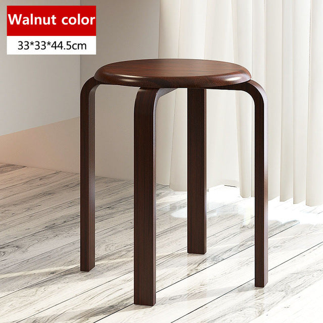 Wooden Dining Chairs Round Seat Stool Fashion Table Stool Modern Simplicity Dining Room Furniture