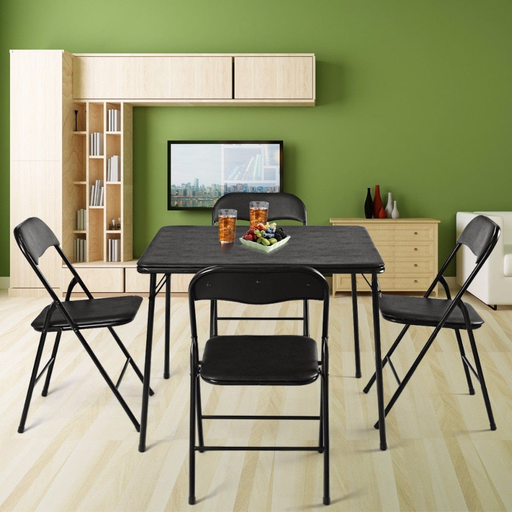 - Giantex 5 Piece Folding Table Chair Set Guest Games Card Dining