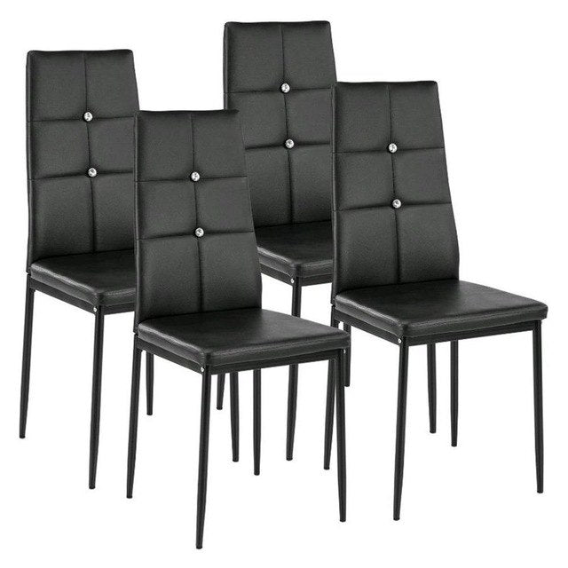 4pcs Comfortable Kitchen Table Chairs Universal Padded Seats Durable
