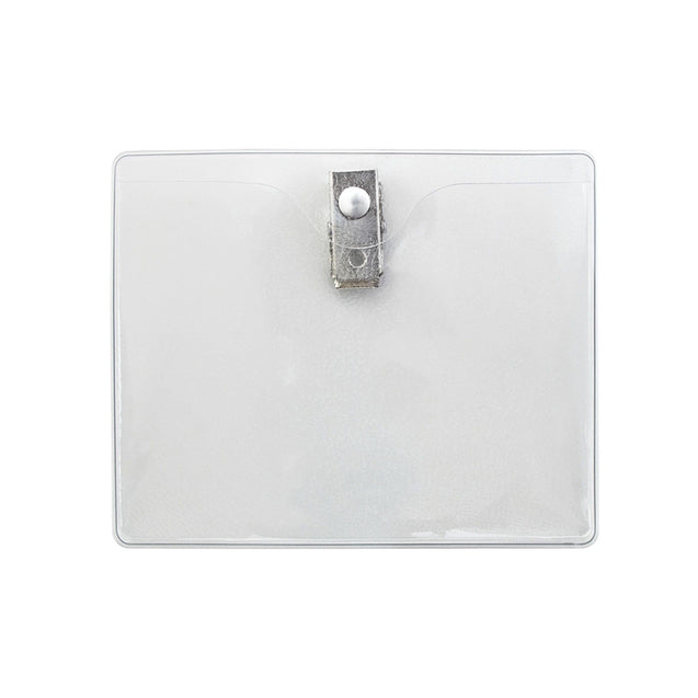"Vinyl Badge Holder, Clip-On Badge Holder 3.94"" x 3.03"" (100 x 77mm), 2 Hole Clip, Reinforced edges, Color Clear - 100/pack"