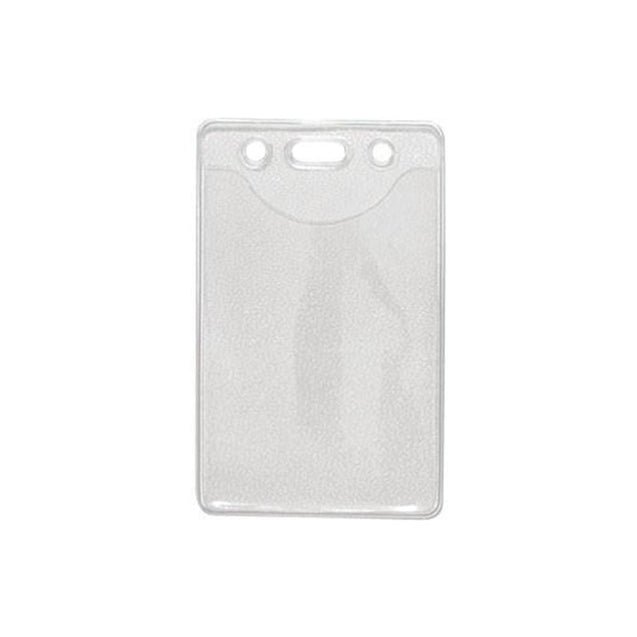 "Vinyl Badge Holder, Textured Back Clear Front Vinyl Badge holder 2.30"" x 3.38"" (58 x 86mm), Standard Credit Card Size / Slot and Chain Holes, thickness 0.25 mm front and 0.76 mm back, Color Clear - 100/pack"