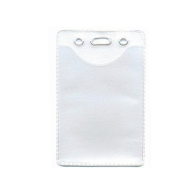 "Vinyl Badge Holder, Anti-Static Badge Holder 2.40"" x 3.50"" (61 x 89mm), Anti-Static Vinyl Card Holder, Slot and chain holes for easy attachment, Color Clear - 100/pack"
