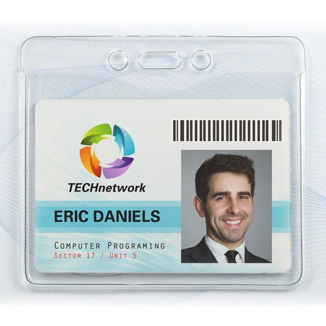 "Vinyl Badge Holder, Textured Back Clear Front Vinyl Badge holder 4.00"" x 3.17"" (102 x 81mm), Event Size / Slot and Chain Holes, thickness 0.25 mm front and 0.76 mm back, Color Clear - 100/pack"