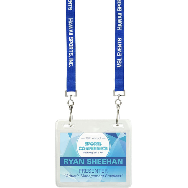 "Vinyl Badge Holder, Event Badge Holder 4.00"" x 3.00"" (102 mm x 76 mm), 2 Slot Holes Style, thickness 0.25 mm front and 0.76 mm back - Color Clear"