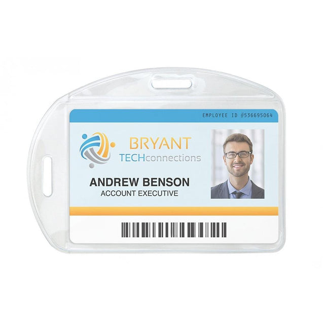 "Vinyl Badge Holder, Premium Grade Vinyl Badge Holder 2.13"" x 3.38"" (54 mm x 86 mm), Multi-Directional Badge Holder with 2 slot, thickness 0.81 mm front and 0.3 mm back - Color Clear"
