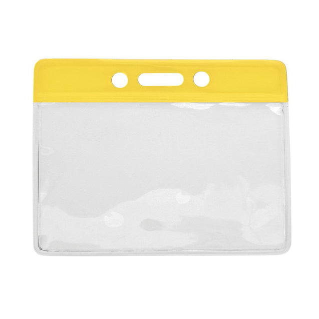 "Vinyl Badge Holder, Color-Coded Vinyl Badge Holder 3.38"" x 2.25"" (86 x 57mm), Clear vinyl pocket front with color bar at top, thickness 0.23 mm front and 0.23 mm back, Horizontal top-load format"