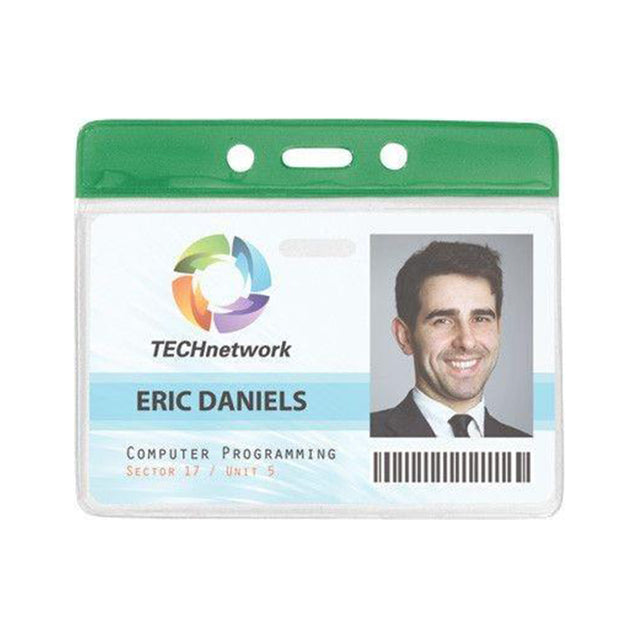 "Vinyl Badge Holder, Color-Coded Vinyl Badge Holder 3.81"" x 2.63"" (98 x 67mm), Clear vinyl pocket front with color bar at top, thickness 0.23 mm front and 0.23 mm back, Horizontal top-load format"