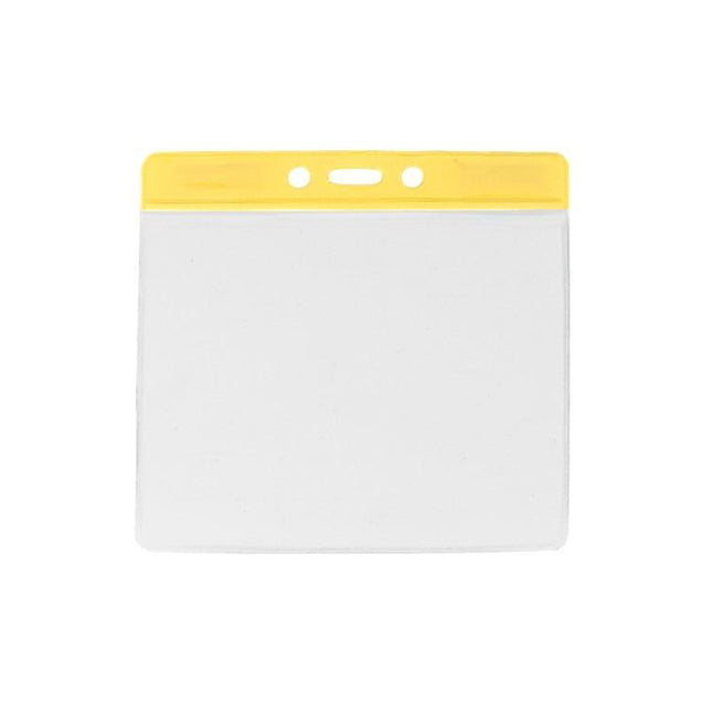 "Vinyl Badge Holder, Color-Coded Vinyl Badge Holder 4.38"" x 3.75"" (111 x 95mm), Clear vinyl pocket front with color bar at top, thickness 0.23 mm front and 0.23 mm back, Horizontal top-load format -100/pack"