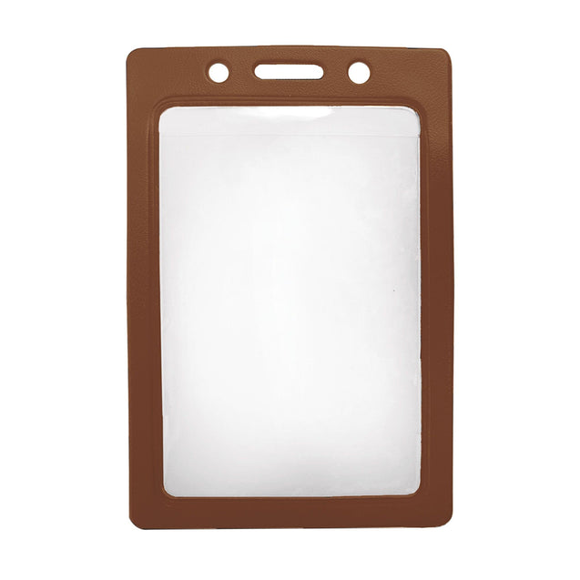 "Vinyl Badge Holder, Color-Back Vinyl Badge Holder 2.25"" x 3.44"" (57 x 87mm), Clear vinyl pocket front with Solid colored back, Credit Size / Slot and Chain Holes, Vertical top-load format - 100/pack"