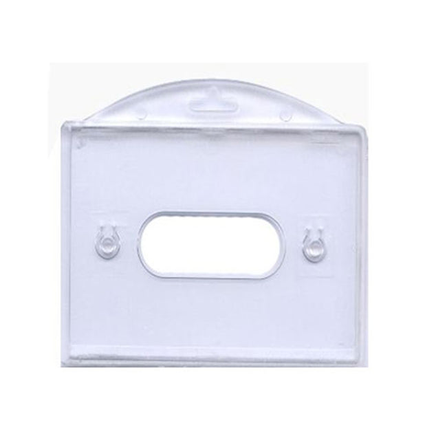 "Rigid Badge Holder, Horizontal Rigid Plastic 1-Card Dispenser 3.38"" x 2.17"" (86 x 55 mm), Horizontal Load, Side-Load, with thumb notch and slot/chain holes, PC Material - Color Clear - 50/pack"