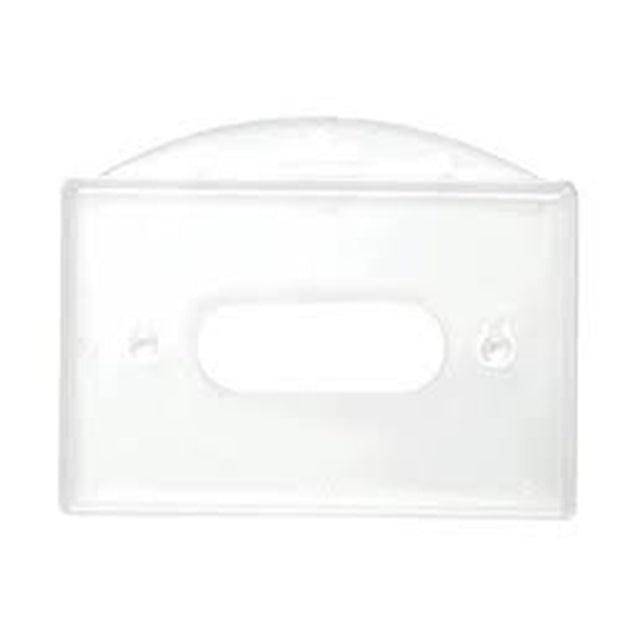 "Rigid Badge Holder, Horizontal Rigid Plastic 1-Card Dispenser 3.38"" x 2.17"" (86 x 55 mm), Horizontal Load, Side-Load, with thumb notch and slot/chain holes, ABS Material, - Color Clear - 50/pack"