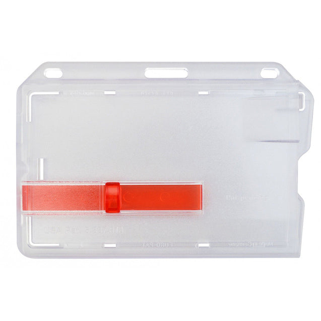 "Rigid Badge Holder, Access One-Card Dispensers Data / Credit Card Size, Inside : 3.38"" x 2.13"", Side Load, Red Color Extractor Slides, - Color Transparent Clear - 50/pack"